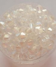 Clear AB Crystal Glass Faceted Bicones. 4mm x 50